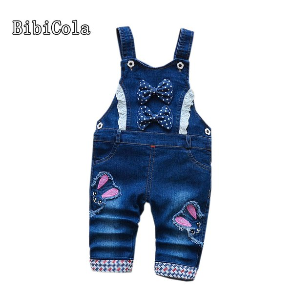 good quality spring infant children jeans overalls baby girls bow cartoon rabbit denim pants kids girl suspenders trousers bib pants