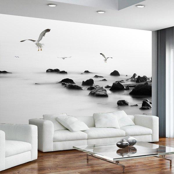Benutzerdefinierte Fototapete moderne künstlerische Schwarzweiss-Konzeption Stein Foto Wandbild Tapete für Wände 3D Wohnzimmer Schlafzimmer