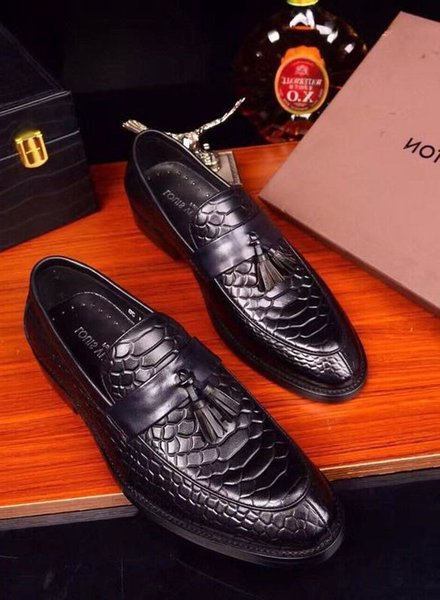 2019 Cowhide fish face tassel casual shoes 2058 guan Men Dress Shoes BOOTS LOAFERS DRIVERS BUCKLES SNEAKERS SANDALS