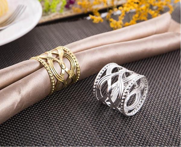 Toptan Sıcak 100 adet Directsale Yuvarlak Oyma Çin Tarzı Peçete Halkası Hollow Desen Yuvarlak Altın Gümüş Tutucular