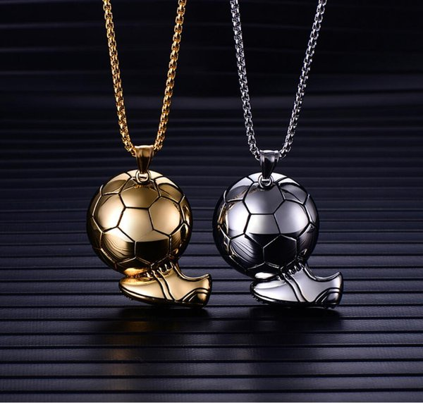 For Fans Gift Football Soccer Sports Shoes Fashion jewelry Men Stainless Steel Pendant Necklace Souvenir Jewelry