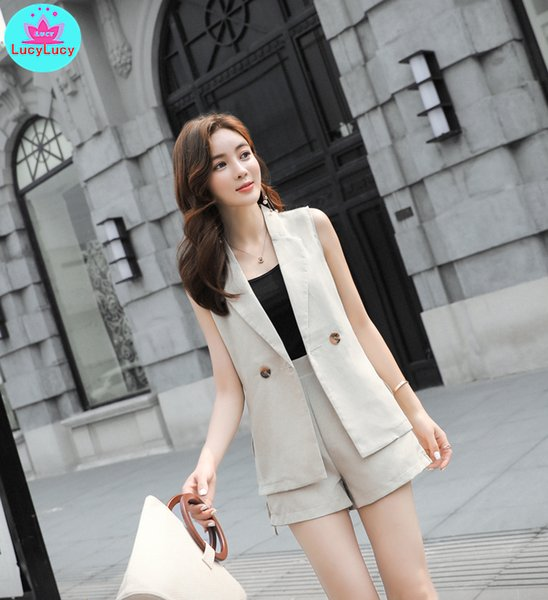 2019 2019 Korean Version Of Cotton And Linen Vest Women\u0027S Suit Shorts Suit  Casual Of Thin Women\u0027S Clothing Office Lady From Buttonhole, $31.36