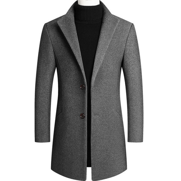 top popular Mens Overcoat Woolen Coat Long Male Windbreaker Cotton Thick Warm Top coat Men Business Jacket Outwear 2021