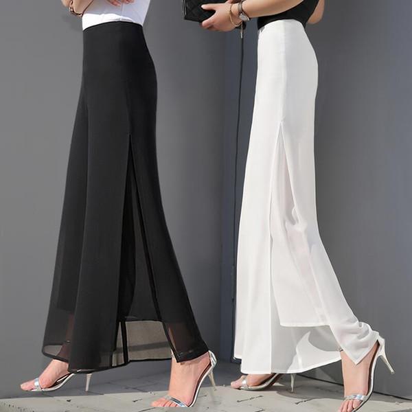 Chiffon trousers high waist trousers large size long skirt mesh loose pants straight casual pants split wide leg pants women