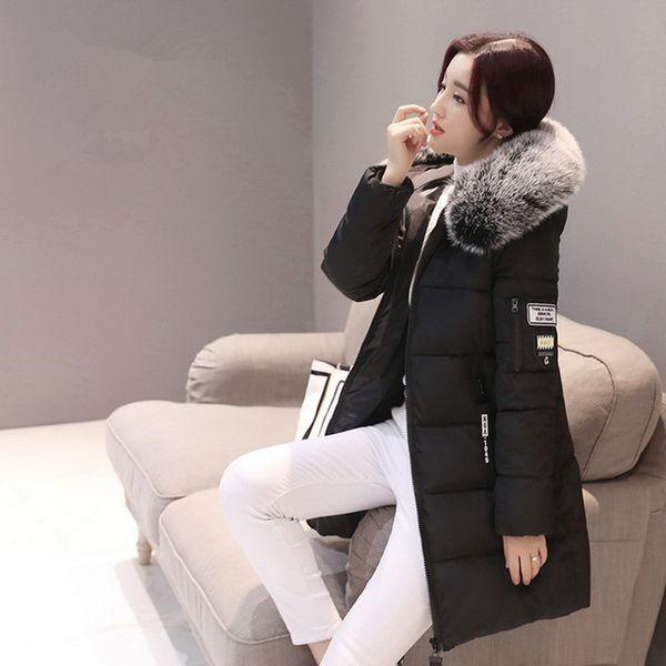 Winter Parkas Weiblichen 2019 Lässig Lange Pelz Frauen Mit Mantel Von Winter Parka Damen Warme Mantel Frauen Großhandel Kapuze Jacken Mäntel Baumwolle nNOyvPm08w