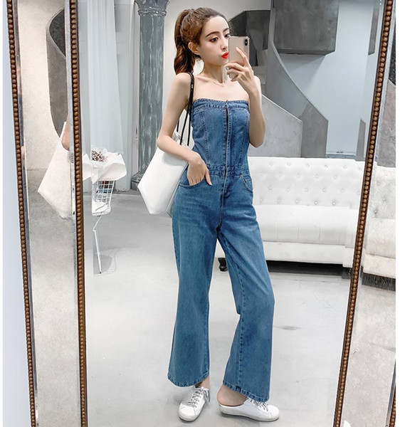 Fashion Women Off Shoulder Denim Jumpsuit Solid Summer Sexy Sleeveless Long Romper Vocation Holiday Wide Leg Overalls