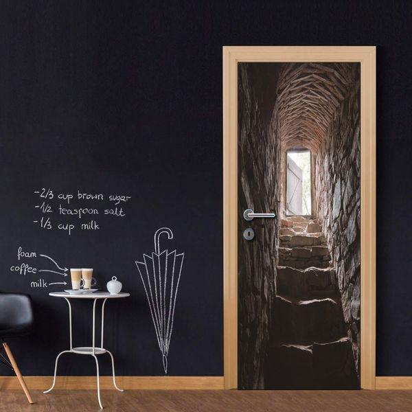 Wholesales DIY Door Sticker Dark Stone Stairs Door Decal for Bedroom Living Room wallpapers Decal home accessories