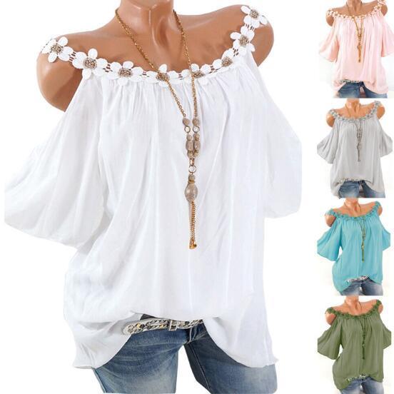 2019 Camiseta de verano para mujer con cuello redondo de encaje Camiseta de color sólido Cuello de barra sexy para mujer con 5 colores