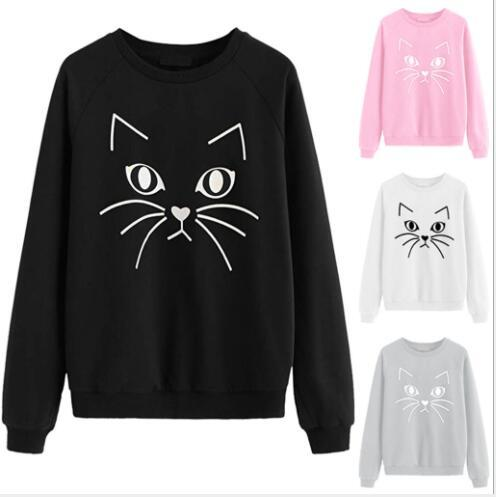 Nueva estación europea vendedora caliente europea y americana nuevo gato impresión de la venta directa suéter de las mujeres de cuello redondo