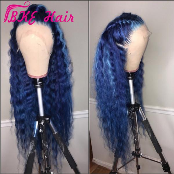 Moda onda profunda Encaje Delantero Peluca sintética estilo de la celebridad 360 frontal de encaje Larga peluca azul para las mujeres negras arrugada natural rayita