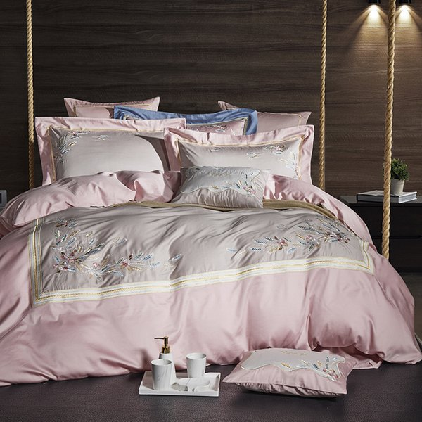 Pink Grey Luxury Egyptian Cotton Bedsheet set Oriental Embroidery Bedding set Queen King size Quilt/Duvet cover Bed set 40