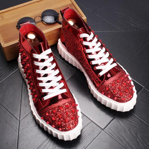 Zapatos de suela gruesa, zapatos altos, remaches, estilista masculino, personalidad, moda, zapatos altos, remaches altos, botines de alta calidad, W60
