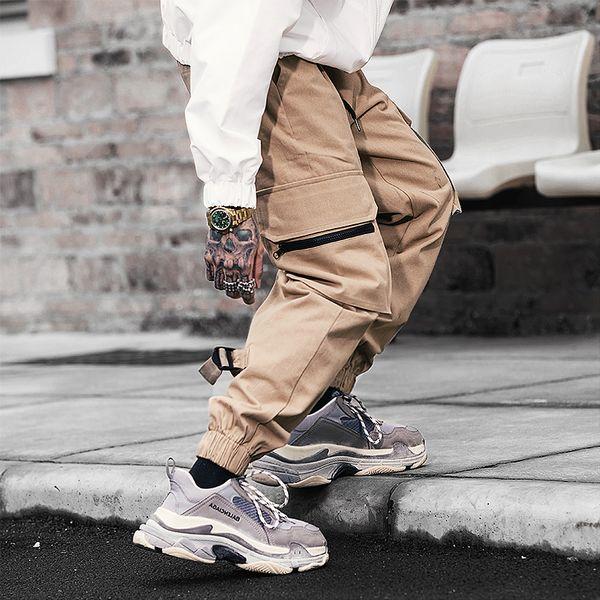 2019 neue Herbst Winter Jogger Männer Casual Cotton Cargo Pants Solide Streetwear Hip Hop Multi-Taschen Herren Jogger Hosen Hosen