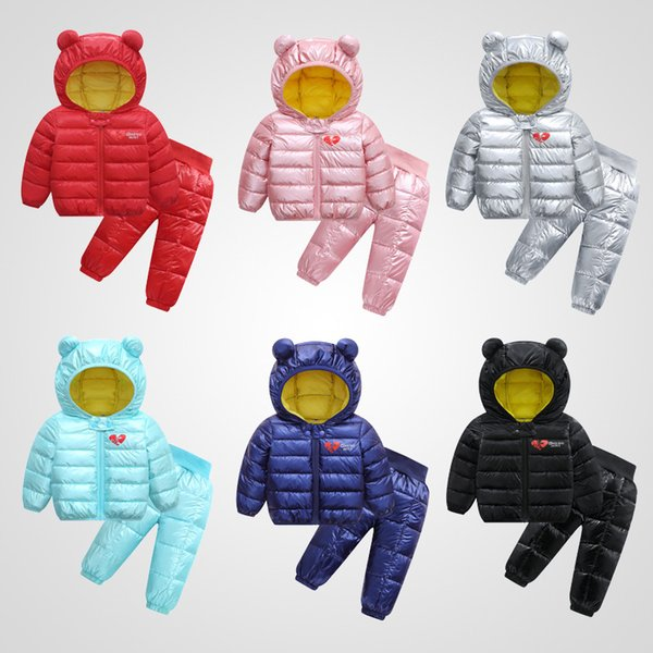 Retail baby girl winter outfits 2pcs set boys light ear hooded jacket+pant down jacket fur snow coat ourwear coats kids designer clothing