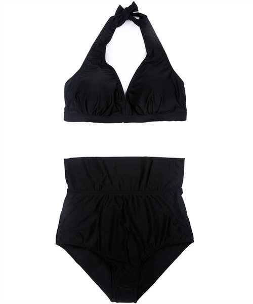 Womens Black Plus Size Swimsuit Sexy Deep V Sling Bikini Top Draped Padded Two Piece Swimwear Elastic High Waist Bikini Briefs Bathing Suit