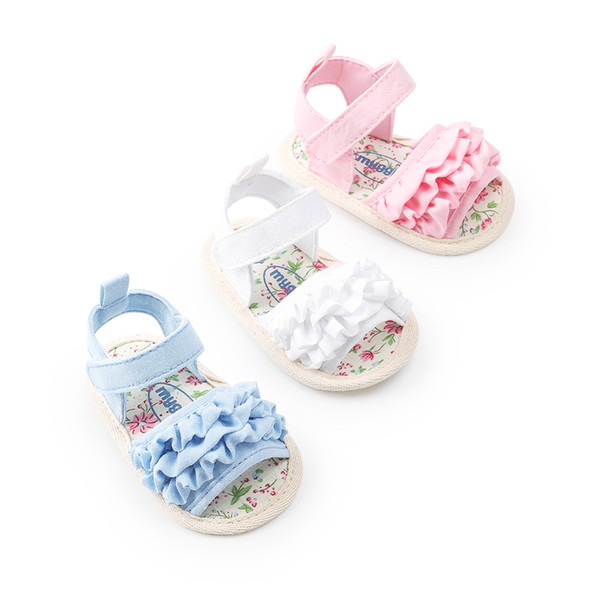 Baby Girls Canvas Sandals Ruffle Design Outdoor Toddler Summer Sandals First Walkers Shoes