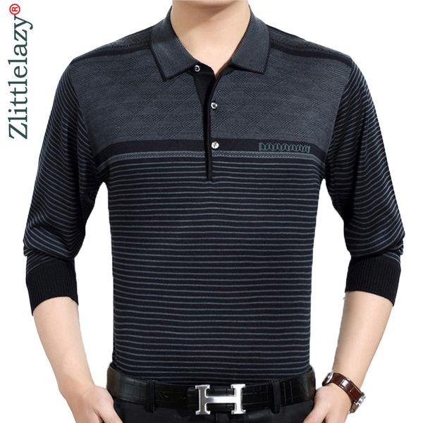 2019 Casual Long Sleeve Business Mens Shirts Male Striped Fashion Brand Polo Shirt Designer Men Tenis Polos Camisa Social 3881 Q Cool Shirt