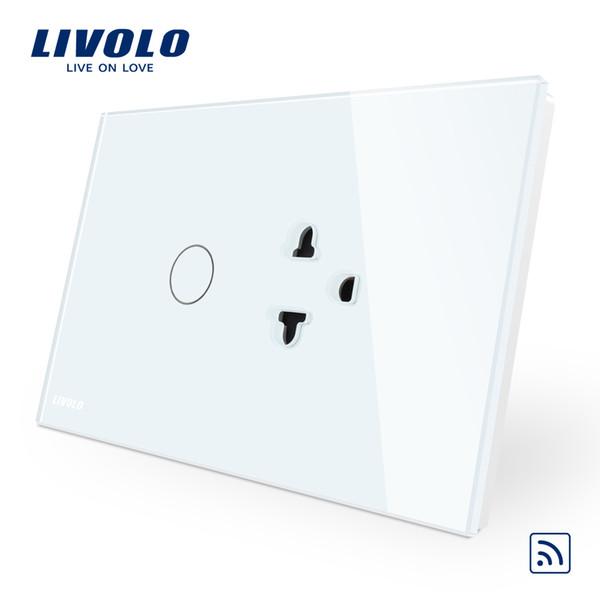 Commutateur tactile standard US / AU de Livolo (télécommande) + prise de courant, panneau en verre de cristal blanc, commutateur à distance pour un port et prise de courant des États-Unis