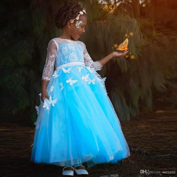 Blue A Line Ankle Length Baby Girls Dresses for Wedding Jewel Neck Full Sleeves Butterfly Kid Graduation Gown Tulle Toddler Pageant Dress