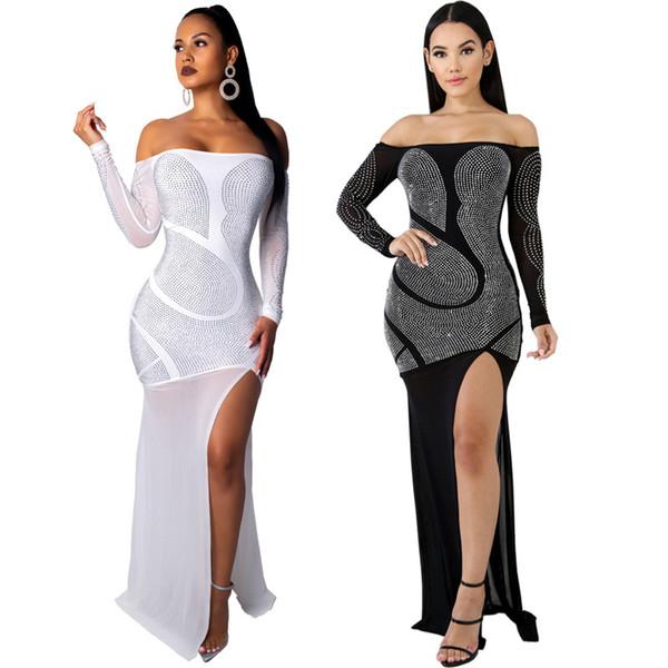best selling Spring Women sexy vintage Full Sleeve Dresses Hot drilling Mesh Bandage Fashion Casual club Long Maxi dress vestidos Black White