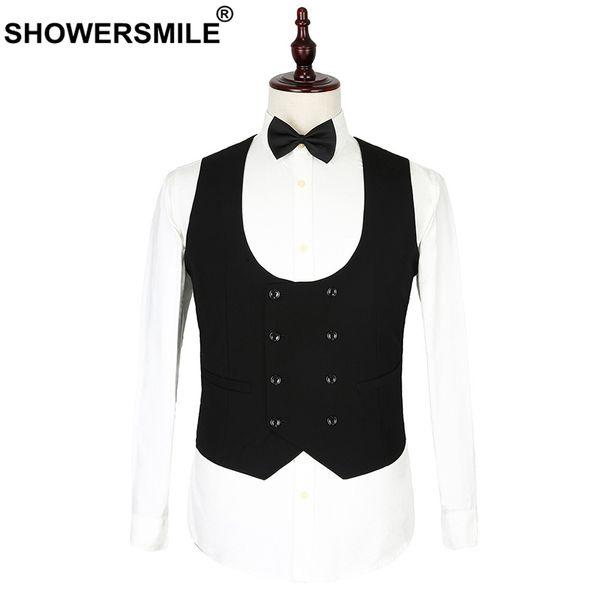 SHOWERSMILE Wedding Waistcoats Men Black Double Breasted Vest Suit Male Formal Business Spring Summer Slim Fit Sleeveless Jacket