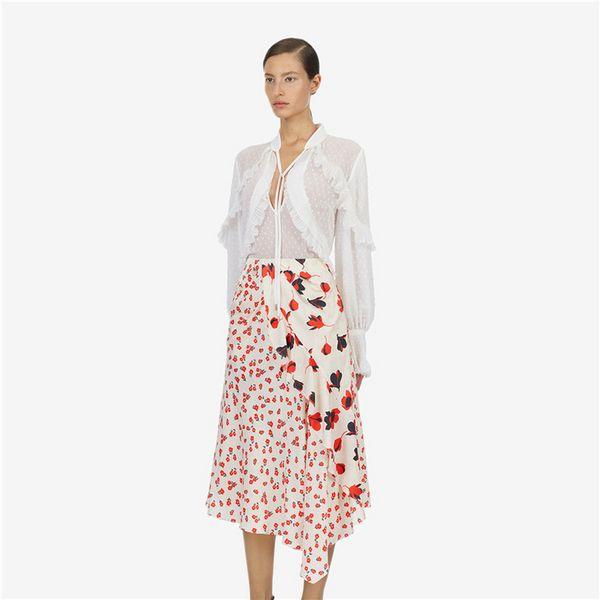Kendi Portre Kadın Beyaz Uzun Kollu V Yaka Nokta Kravat Şifon Gömlek + Çiçek Asimetrik Eklenmiş Yarım Etekler Takım Setleri