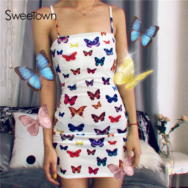 Sweetown Colorful Butterfly stampato Cute Summer Beach Dress Donna regolabile Spaghetti Strap Abiti Woman Party Night Harajuku