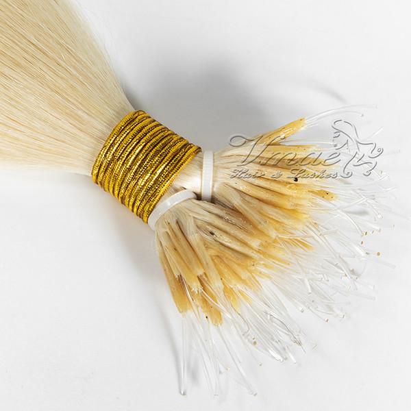 Russisches Menschenhaar Jungfrau 1 g / Strang 16 bis 26 Zoll gerade 100 g weiße blonde doppelt gezogene Nano-Spitze Keratin Pre gebundene Haarverlängerungen