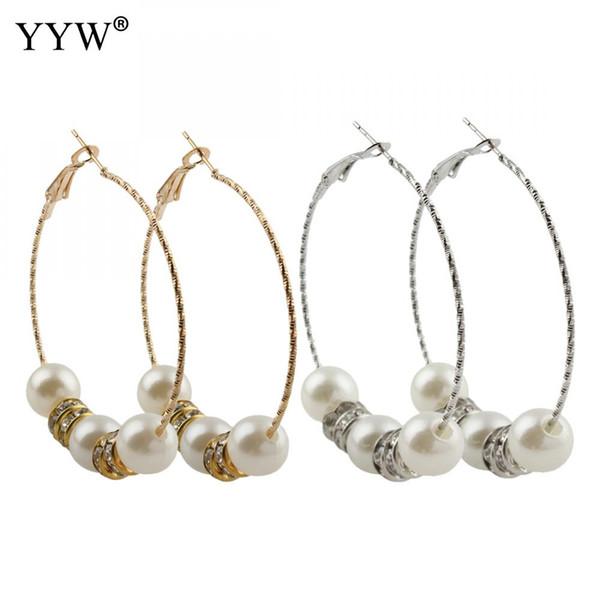 1 Pair Fashion 60mm Big Round Loop Circle Hoop Earring New  Imitation Statement Hoop Earrings Pearl Gold-color Crystal