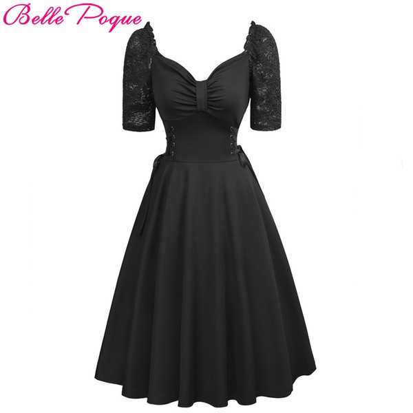 Women Summer Gothic Dresses Casual Clothing 2018 Lace-up Corset V-neck Half Sleeve Retro Vintage Sexy Black Party Punk Dress Y190410