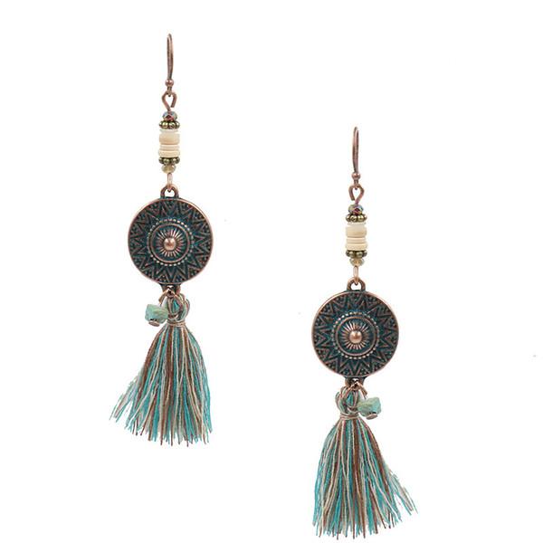 New Bohemia Vintage National Style Alloy Disc Long Tassel Wooden Bead Earring Fashion Women Dance Earrings Jewelry Fringe Statement Eardrop