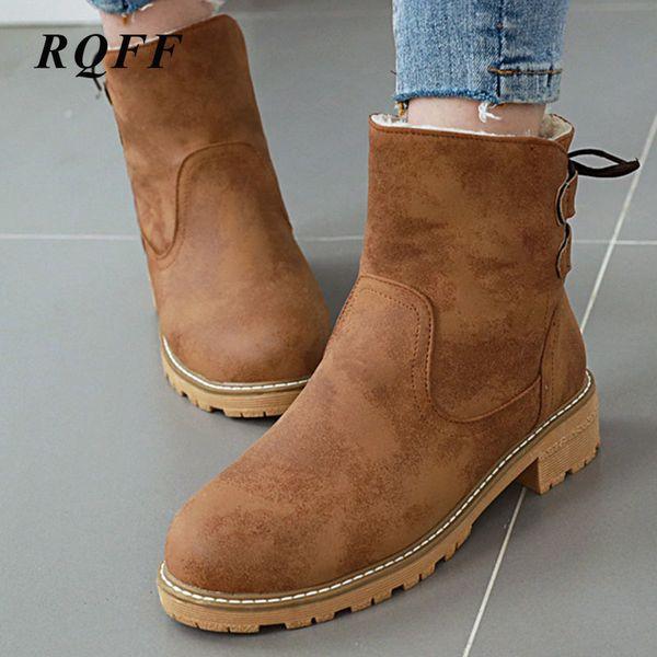 Verde Rosa Gris Marrón Beige Nueva cargadores del tobillo de las mujeres del otoño del bloque h Med zapatos de los tacones Mujer Plus Tamaño grande Boot pasada de moda 10
