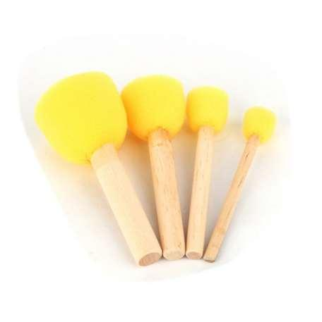 4pcs/Set Round Stencil Sponge Wooden Handle Foam Brush Furniture Art Crafts Painting Tool Wooden Handle Seal Sponge Brush
