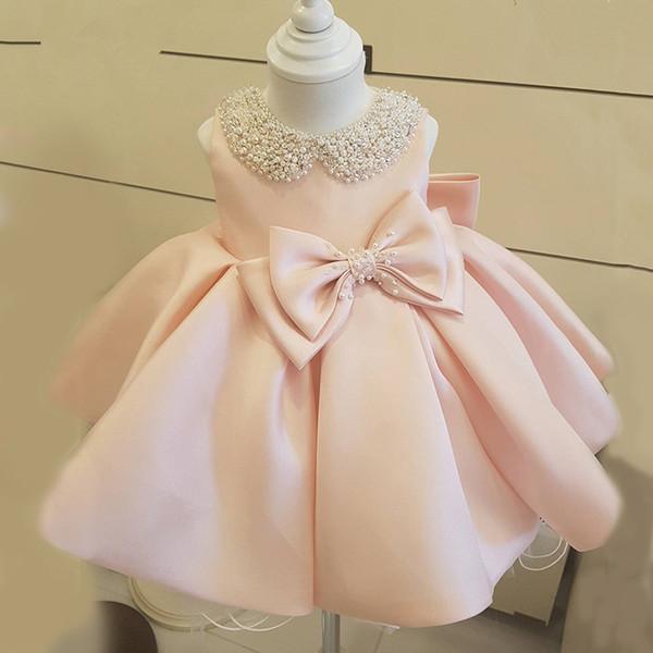New Fashion Beaded Bow Flower Girl Dresses For Wedding Princess Fluffy Tulle Baby Girls Baptism Christening 1st Birthday Gown J190528