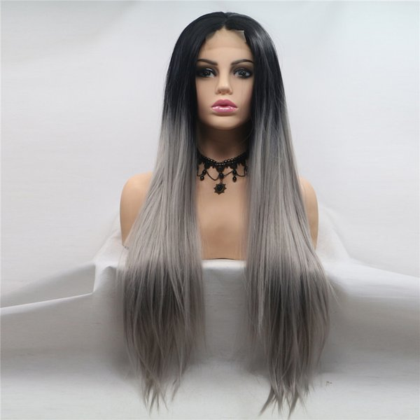 2019 New design 24inch centre-parted long straight synthetic lace frontal wigs cap machine made Ombre Gray