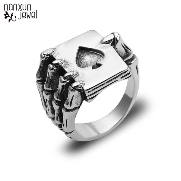 Hot Design Vintage Playing Card Rings For Men Gothic Skull Hand Claw Poker Ring Antique Silver Color Classic Cool Lovers Jewelry