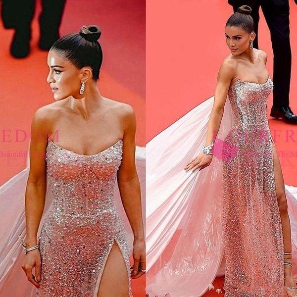 Cannes Film Festivali 2019 Ünlü Gelinlik Modelleri Ile Wrap Straplez Sequins Seksi Yan Bölünmüş Örgün Durum Abiye Custom Made