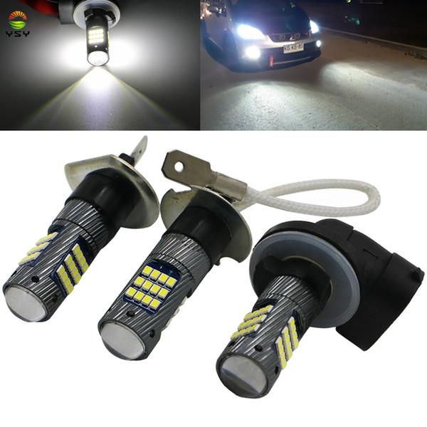 2 unids 1300Lm H1 H3 LED Luces de Coche Bombillas LED 42SMD 2016 881 H27 Luces de conducción diurnas blancas DRL Luz de niebla 6000 K 12 V Lámpara de conducción