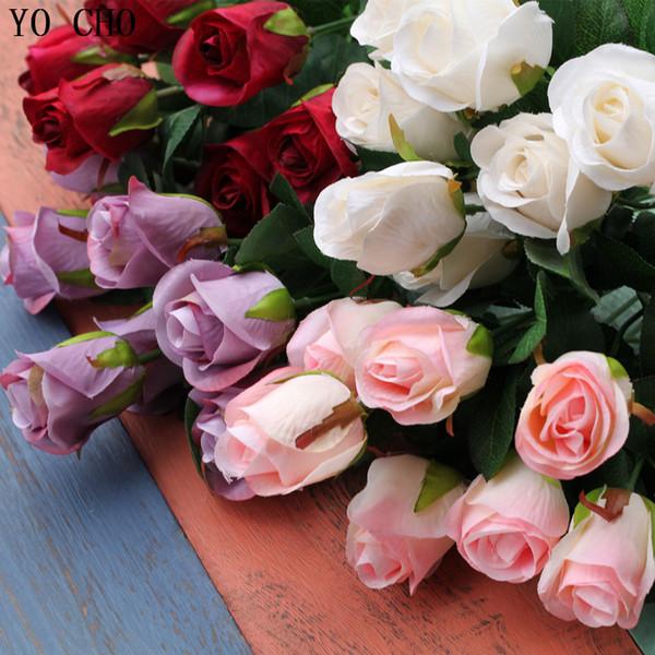 ake flower arrangements YO CHO Artificial silk 1 Bunch French Rose Floral Bouquet Fake Flower Arrange Table Wedding Home Decor Party acce...