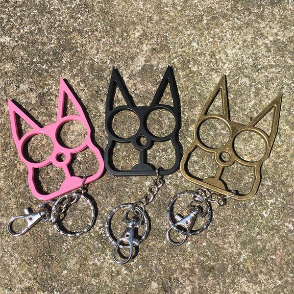 Kişiselleştirilmiş klasik kedi şekli anahtarlık, kendini savunma aracı anahtarlık, kedi kafa iki parmak kaplan metal hediye, 3 renk