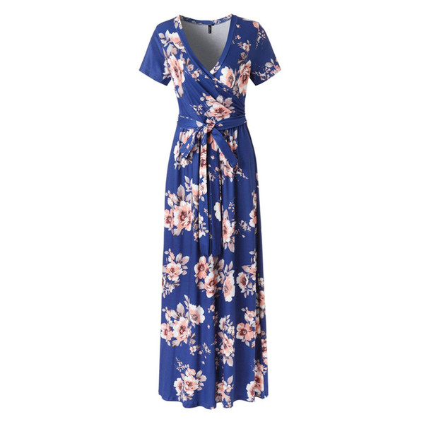 2019 New Spring Fashion Women Sexy Short Sleeve V-Neck Flower Print Evening Party Prom Swing Long Ladies Dresses For Female