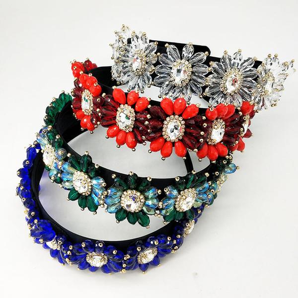 Baroque Beaded Headband ,Crown Flower Hair Hoop Crystal Headband head piece For Wedding Princess Tiara Christmas Jewelry