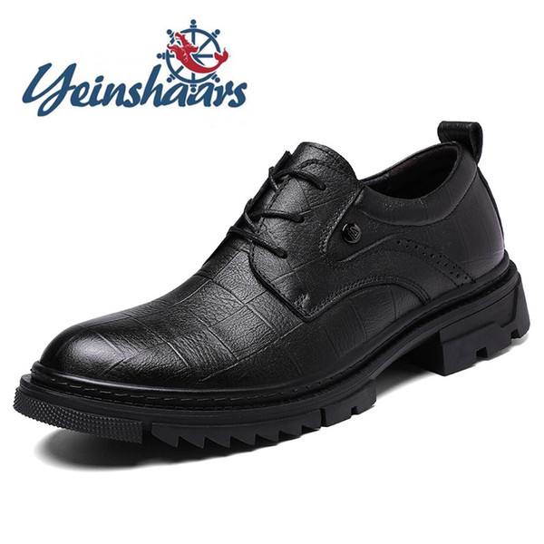 Genuine Leather Men Shoes Fashion Oxford Shoes Man Breathable High Quality Formal British Style Flats Casual Navy Shoes Blue Shoes From