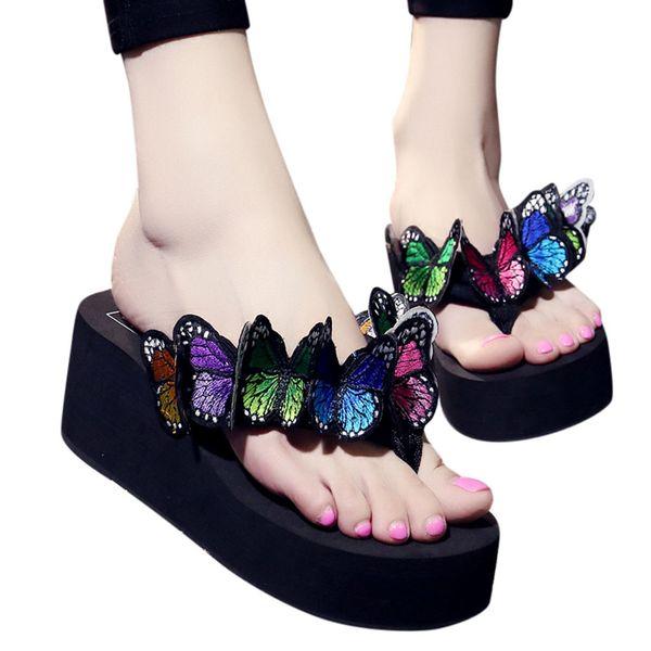 Новые женские тапочки Девушки модные бабочки с цветочным принтом Клинья вьетнамки Тапочки пляжные летние Туфли zapatillas mujer