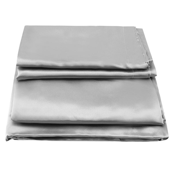 Plain Satin Anti-mite Bed Fitted Sheet Mattress Protector Cover Bedding Set Duvet Cover