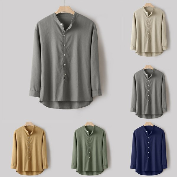 Slim Fit Tees Tops Male Breathable Linen Fashion Mens Autumn Winter Button Casual Linen and Cotton Long Sleeve Top Blouse L-4XL