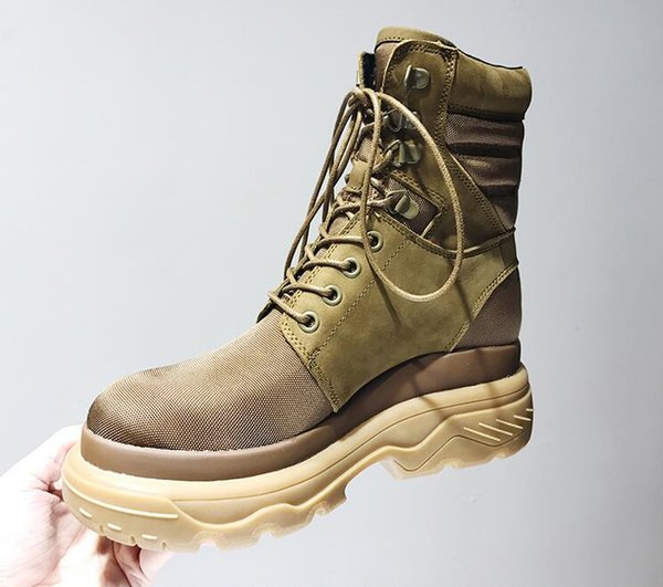 Fashion Woman Genuine Leather Platform Martin Snow Boots waterproof canvas Hight top Lace-Up Round Toes Flat Heel Knight Motorcycle Boots