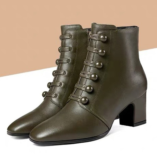 Sagace Nice Women's High Quality Leather Button Ankle Round Toe Zipper Boots Square Heel Short Booties Mujer Zapato Aug1