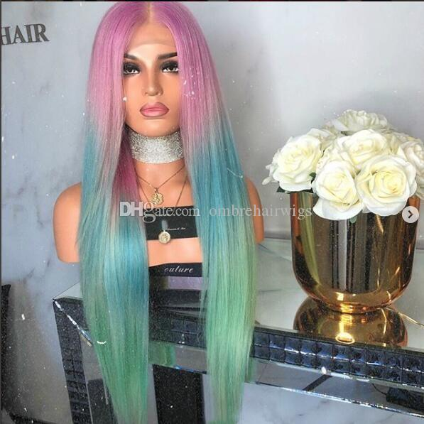 Long Silk Straight Mermaid Rainbow Color lace Lace Front Wig Beauty Pastel Pink Purple Blue green Colorful Hue Anime Cosplay Party Wig