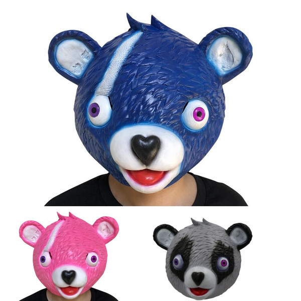 Mask Cuddle Team Leader Pink Teddy Bear Fuzzy Panda Bear Cosplay Realistic Latex Masks For Kids Adults Halloween Party Toys